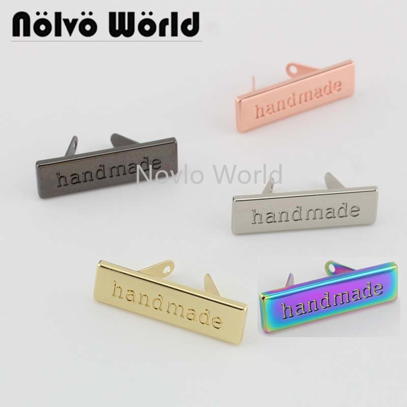 10-50 Pieces,5 Finish 36X10mm New Decorative Handmade Label For Women Handbag Sewing,Purse Hand Made Metal Labels