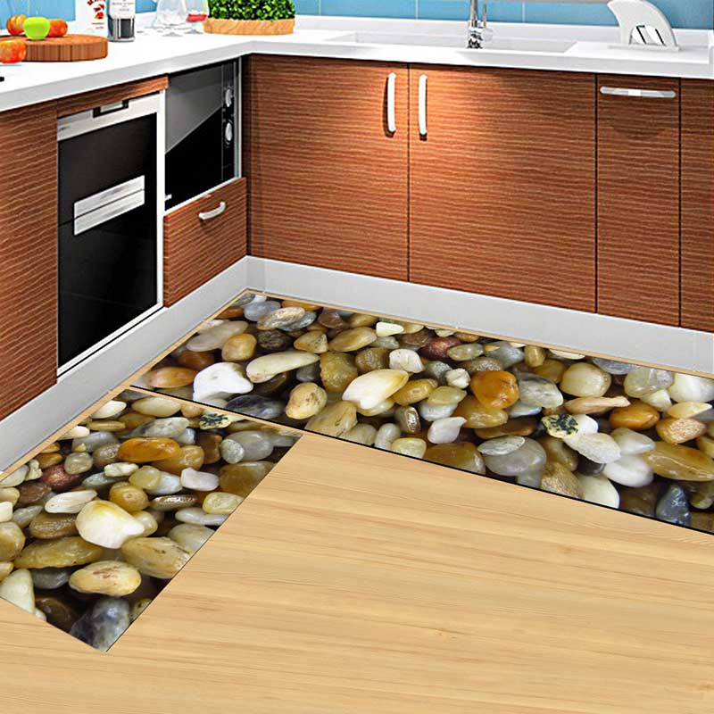 2PCS Kitchen Mats Made With Polyester Material for Modern Kitchen Balcony and Hallway Floor 1