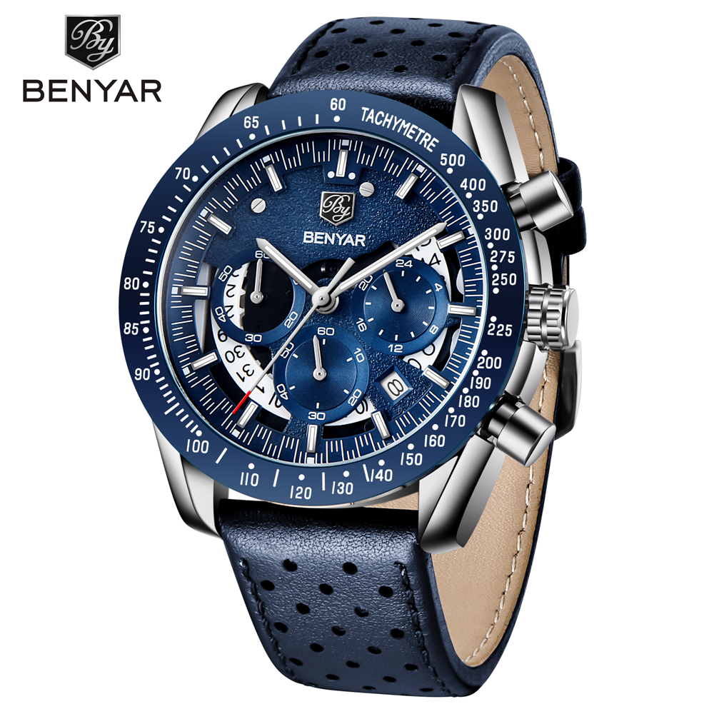 2020 New Mens Watch Luxury Brand BENYAR Mens Blue Watch Stainless Steel Watch Mens Chronograph Men Relogio Masculino