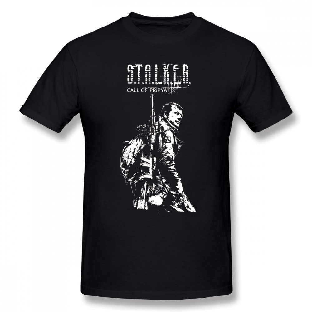 Stalker Game T Shirt Stalker COP White T-Shirt 100% Cotton Male Tee Shirt Print Casual Short-Sleeve Plus Size Awesome Tshirt