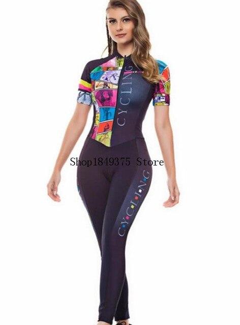 Macacão feminino triathlon profissional, roupa de ciclismo, camisa de manga curta, calça longa, macacão para andar de bicicleta 5