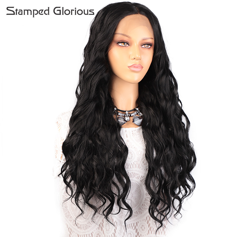 Stamped Glorious Long Wavy Synthetic Lace Front Wig Glueless Loose Wave Hair 26 Inches Heat Resistant Synthetic Wig For Women
