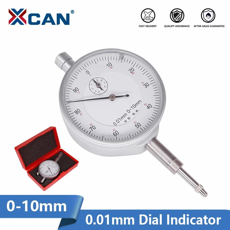 XCAN Dial Indicator 0-10mm 0.01mm Resolution Gauge Mesure Instrument Tool Precision 0.01mm Measuring Tools
