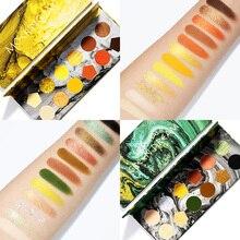 12 цветов Палитра теней для век мерцающий матовый пигментный блеск металлик палитра теней для век Радужная неоновая яркая зеленая палитра для макияжа