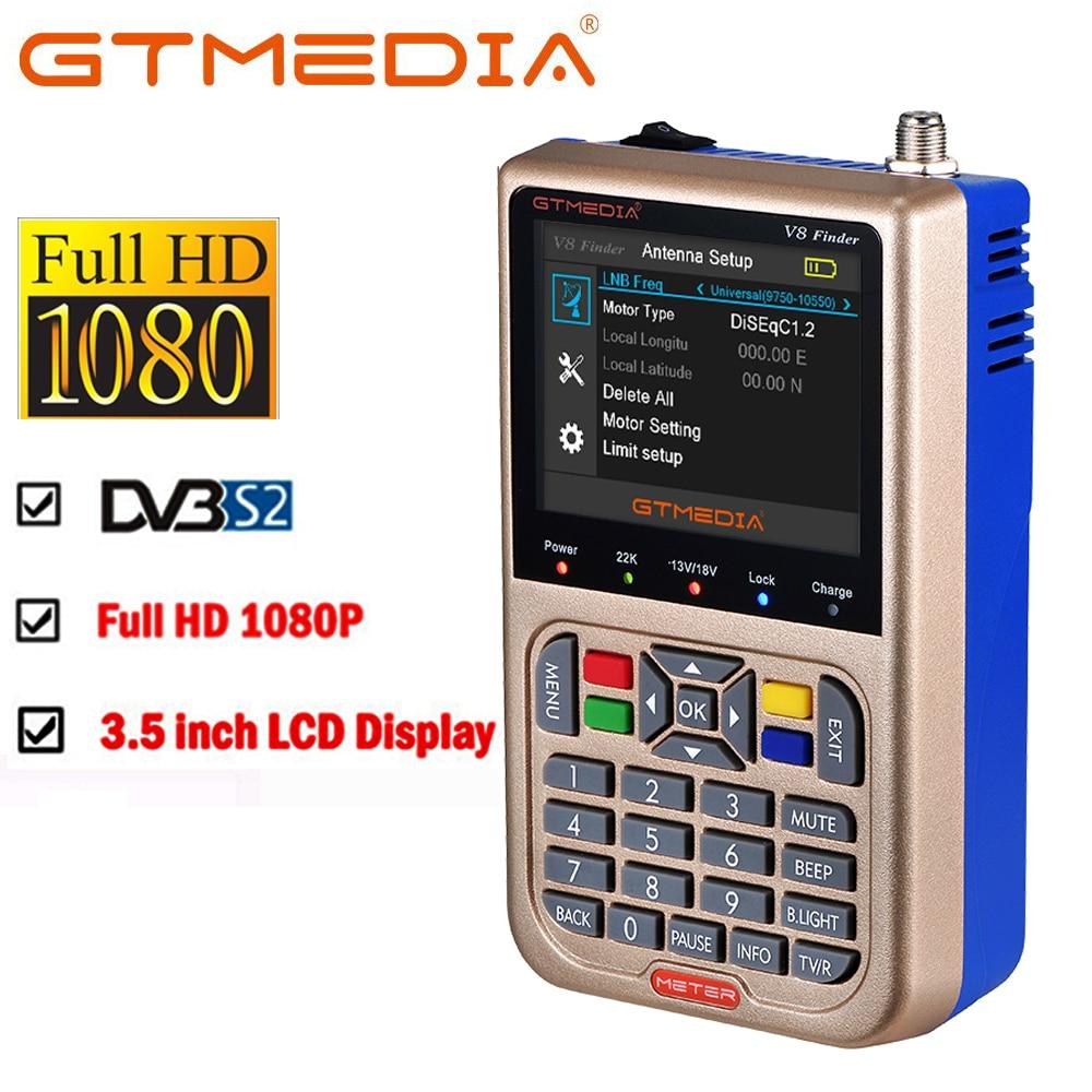 Freesat v8 localizador medidor gtmedia satfinder hd DVB-S2 medidor de satélite alta definição localizador satélite MPEG-4 dvb s2 completo 1080 p