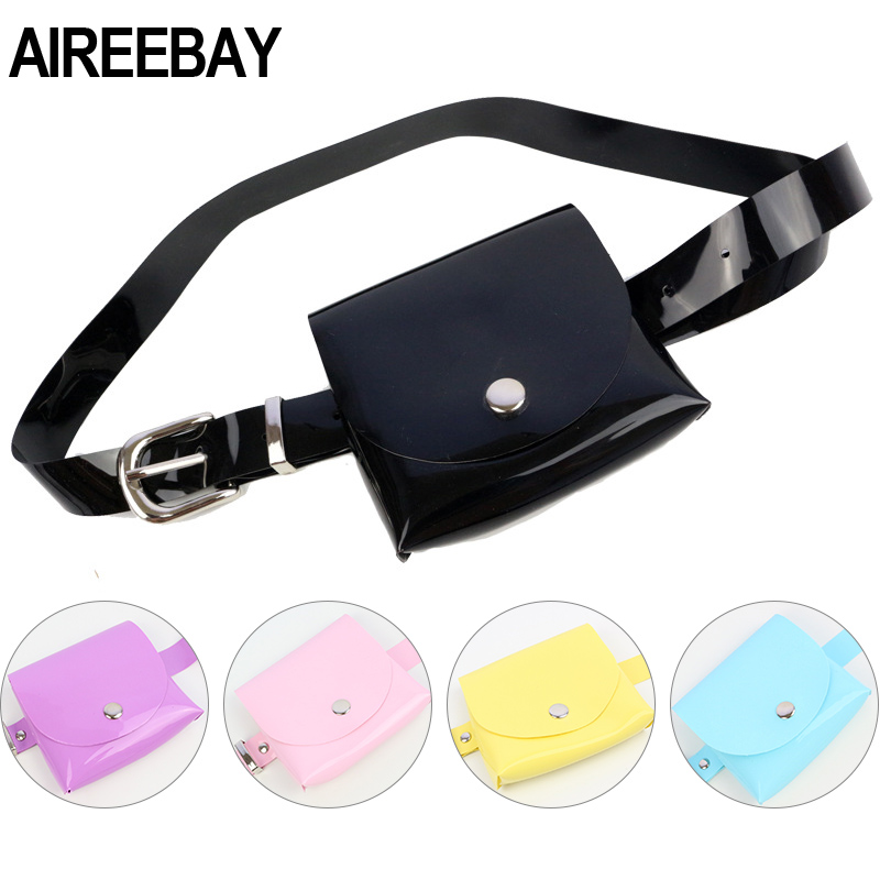 AIREEBAY Fashion Clear Women Belt Bag Transparent Fanny Packs For Women Small PVC Waist Bags Girls Jelly Bum Money Belt Pouch