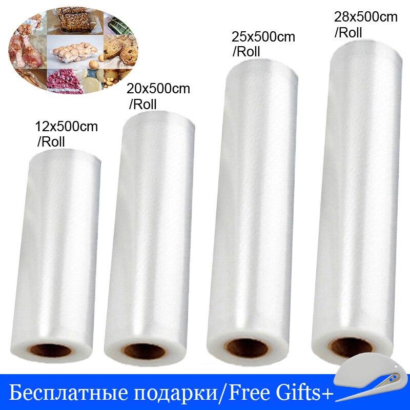 Sacos do aferidor do vácuo para o saco de vácuo do empacotador da cozinha saco de vácuo da selagem da poupança de alimentos saco de vácuo de armazenamento plástico 12 + 20 + 25 28cm * 500cm 4 rolos/lote