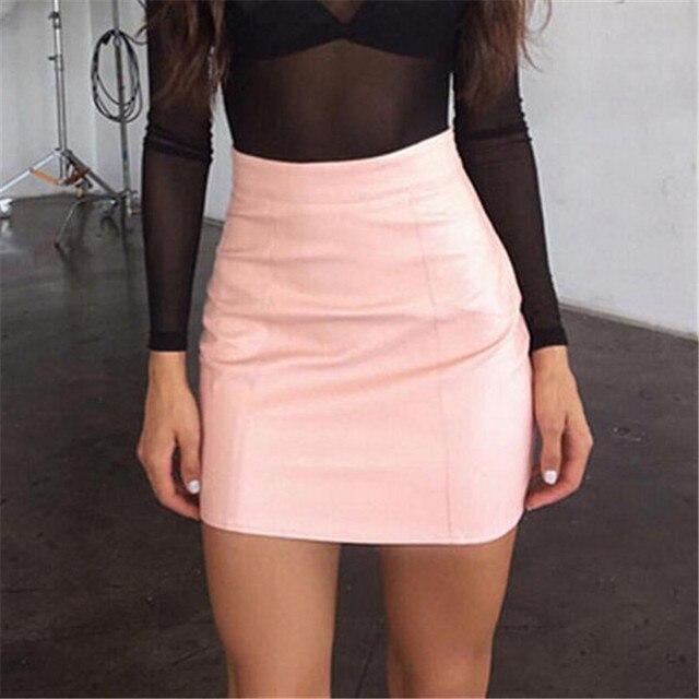 Fashion Women Leather Skirt Female Solid Bodycon Slim Pencil Short Mini Skirt Ladies Zipper High Waist Skirt Tight Clubwear 1