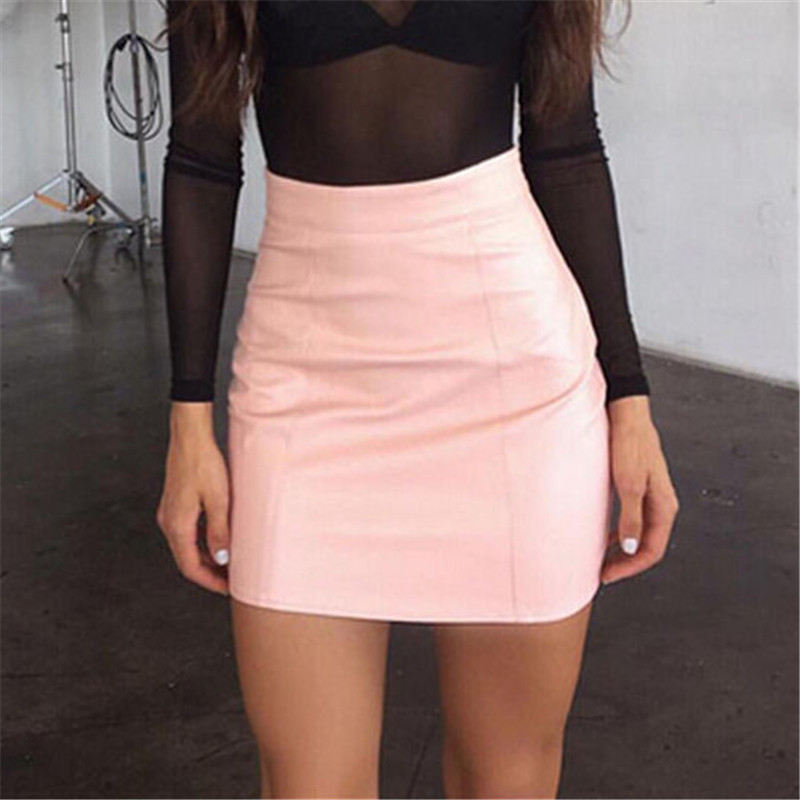 Fashion Women Leather Skirt Female Solid Bodycon Slim Pencil Short Mini Skirt Ladies Zipper High Waist Skirt Tight Clubwear
