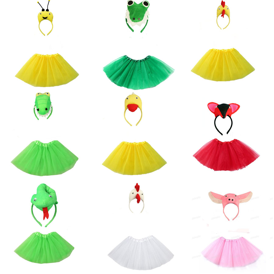 Cartoon Animal Cosplay Headband Tutu Skirt Set Kids Children Girl Birthday Party Gift Props Halloween Costume For Kids Boy Girls