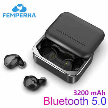 Femperna Bluetooth słuchawki Fingerprint Touch 5.0 3D bezprzewodowy zestaw słuchawkowy stereo z 3200mAh skrzynka do ładowania sport redukcja szumów - DISCOUNT ITEM  49 OFF All Category