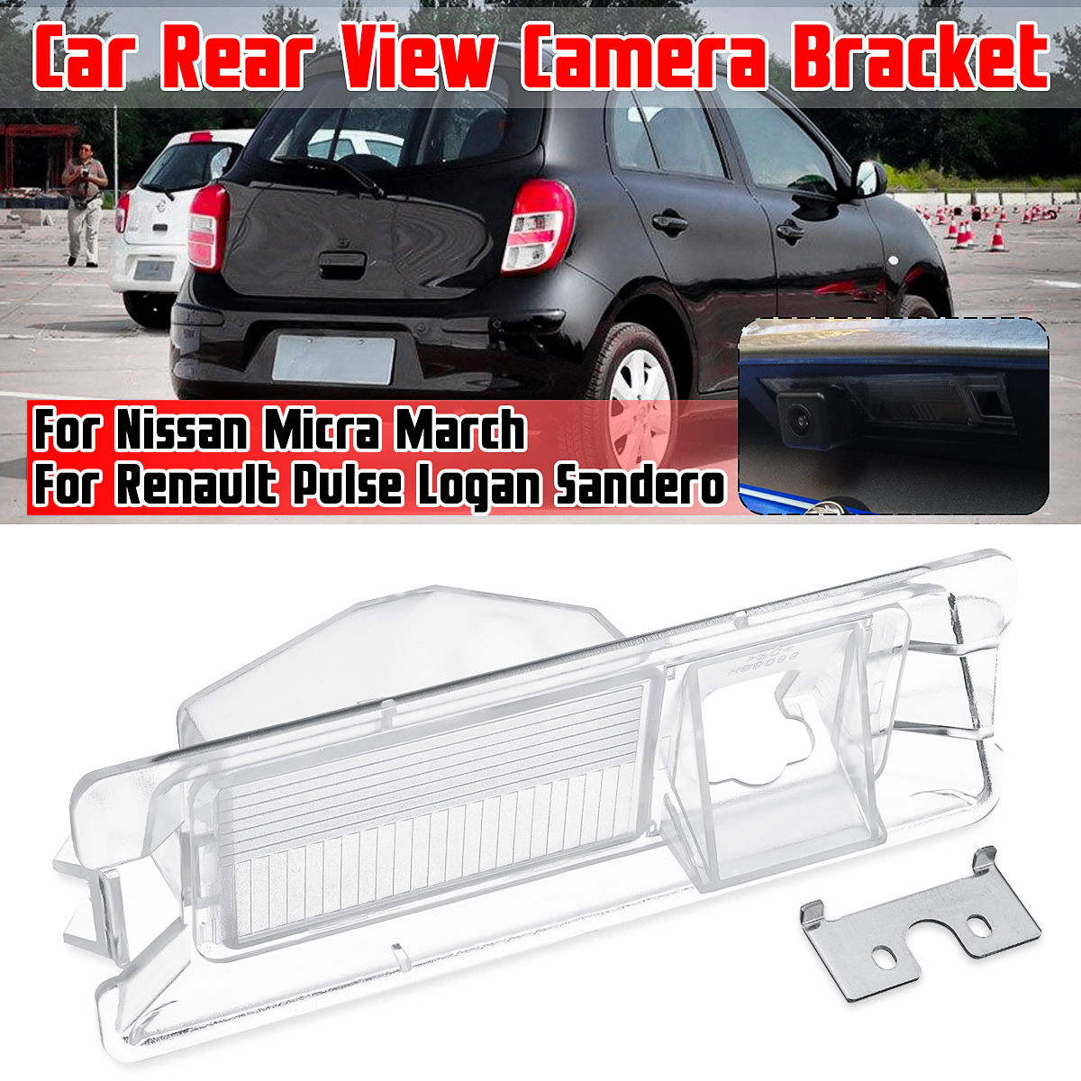 Car Parking Rear View Camera Bracket License Plate Cover Case Housing For Nissan Micra March For Renault Pulse Logan Sandero