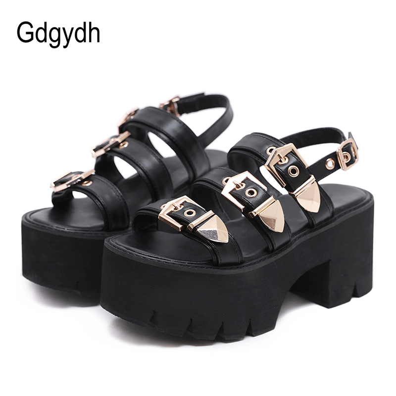 Gdgydh Sexy Buckle Punk Rock Block Heel Platform Sandals Women Summer Shoes 2020 New Thick Bottom Ankle Strap Comfortable Foot