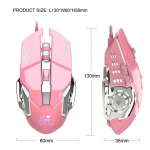 Image 2 - Мышь компьютерная игровая Механическая для девочек, 3200 точек/дюйм, розовая/белая