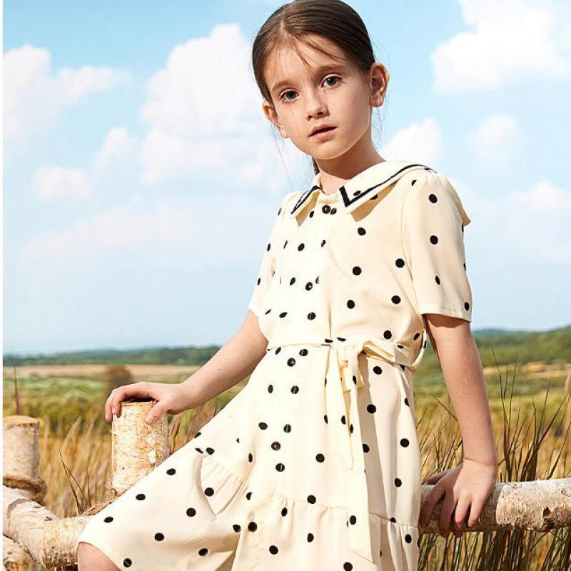 Hot Sale Girls Kids Children Dress Lapel Contrast Piping Collar Single Line Button Black Dot Waist Lace Up Shirt-dress Casual