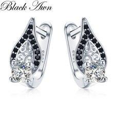 Черный ость 925 стерлингового серебра черного цвета с круглым