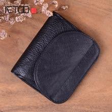 AETOO Men Wallet Oil Wax Cowhide Genuine Leather Wa