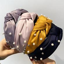 Węzeł perły opaski dla kobiet dziewczynki Handmade szeroki jednolity jedwab tkaniny Twist Hairband Bezel obręcz do włosów akcesoria do włosów tanie tanio Fertile CN (pochodzenie) SILK WOMEN Dla dorosłych Nakrycia głowy Hairbands Moda Stałe PH14 knotted headband hairband for women