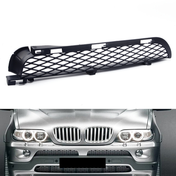 Black Left Front ABS Grilles Upper Bumper Mesh Grill Trim fit for BMW X5 E53 2004 2005 2006 image