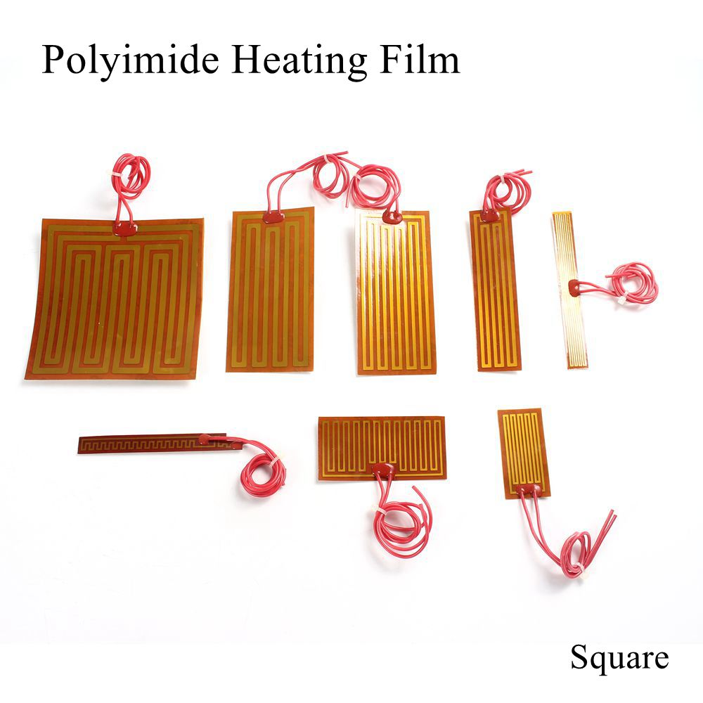 5V 12V 24V PI Heating Film Plate Polyimide Heating Electric Heated Panel Pad Mat Electrotherma Flexible Adhesive Foil Oil Heater