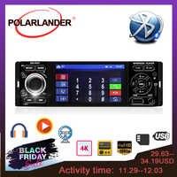 POLARLANDER Autoradio 1din 4 pouces Autoradio écran tactile Audio miroir lien stéréo Bluetooth caméra de recul lecteur USB AUX-IN
