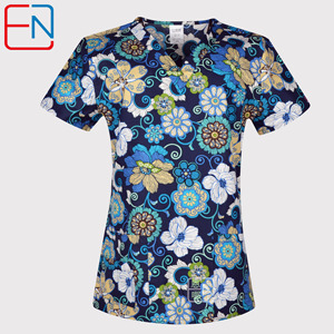 Image 4 - Hennar Women Scrub Top 100% Print Cotton  Uniforms V Neck Short Sleeve XXS 3XL Hospital Clinical scrubScrubs Top