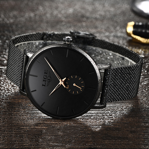 Image 2 - Women Watch LIGE Top Luxury Brand Steel Mesh Waterproof Ladies Watches Flower Quartz Female Wristwatch Charming Girl Clock 2020