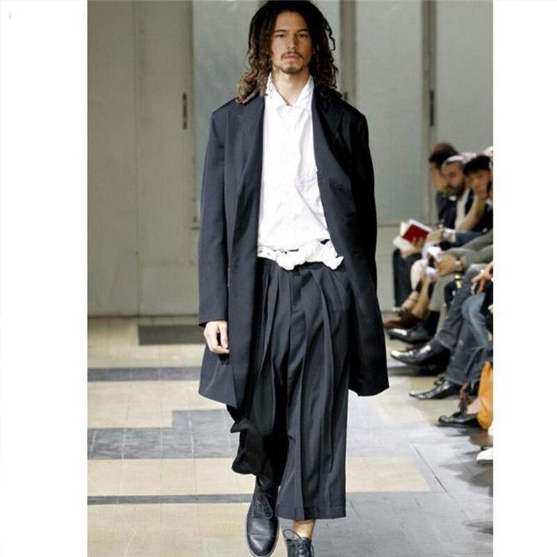 European And American Skirt Pants Cropped Pants Yamamoto Yoshiji Wide Leg Pants Catwalk Trendy Men's Loose Casual Pants Cropped