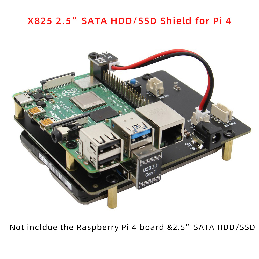 Raspberry Pi 4 SATA, Raspberry Pi 4 Model B 2.5 Inch SATA HDD/SSD Shield, X825 V1.5 Storage Expansion Board For Raspberry Pi 4B