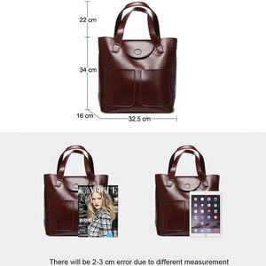 Image 3 - DIENQI דלי אמיתי עור כתף שקיות נשים פטנט עור תיקי גדול קיבולת גבירותיי Tote יד שקיות נקבה 2020