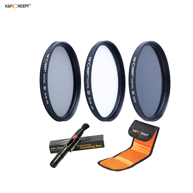 K&F CONCEPT 3pcs 72mm ND UV CPL Filter Sets Filter Pouch Bags Camera