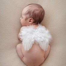 Newborn Infant Baby Toddler Angel Wings Feather Announcement Props Photo Shooting Photography Xmas Costumes Party  birthday