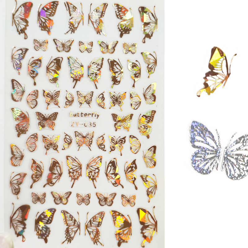 2020 Laser Nail Sticker Gold Silver Butterfly Nail Art Stickers Summer Designs DIY Decoration