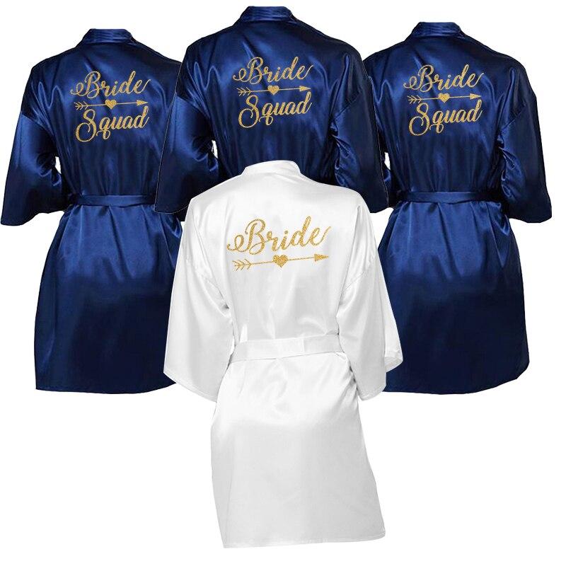 New Navy Blue Bathrobe Bride&Squad Robes Women Bridal Party Sister Team Mother Shower Gift Bridesmaid Hen Glitter Golden Robes