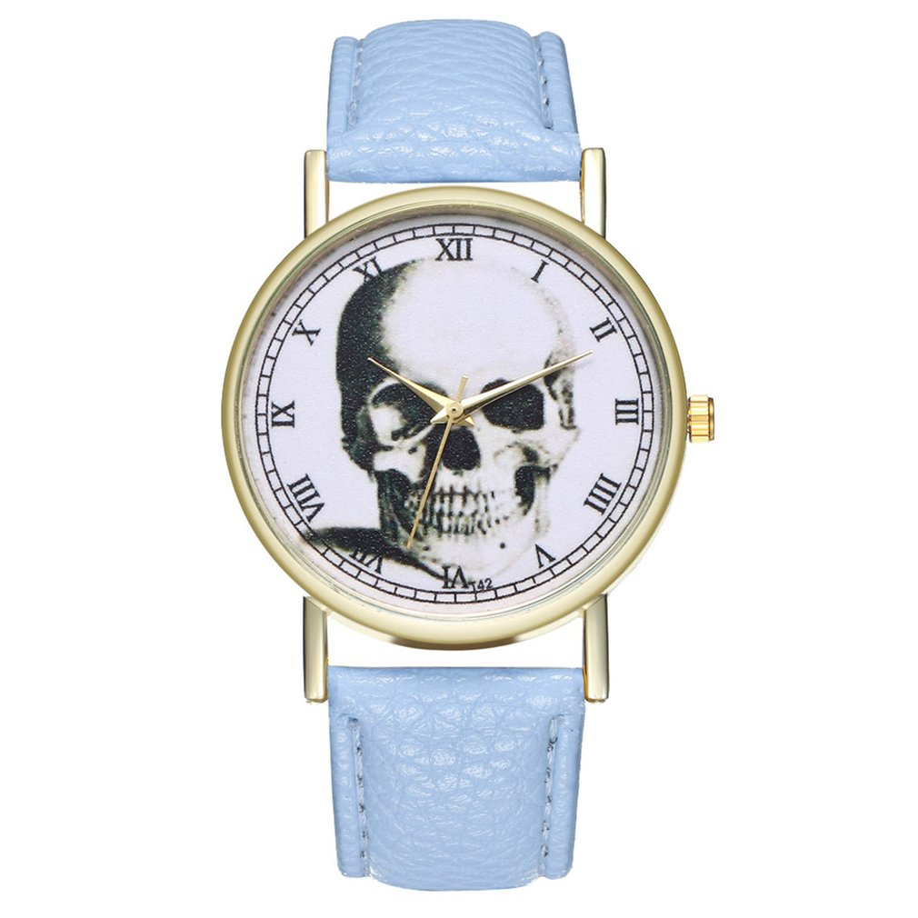 High-quality Brand New Beneficial T42 Skull Leather Strap Quartz Fashion Watch Fashionable Popular Nice