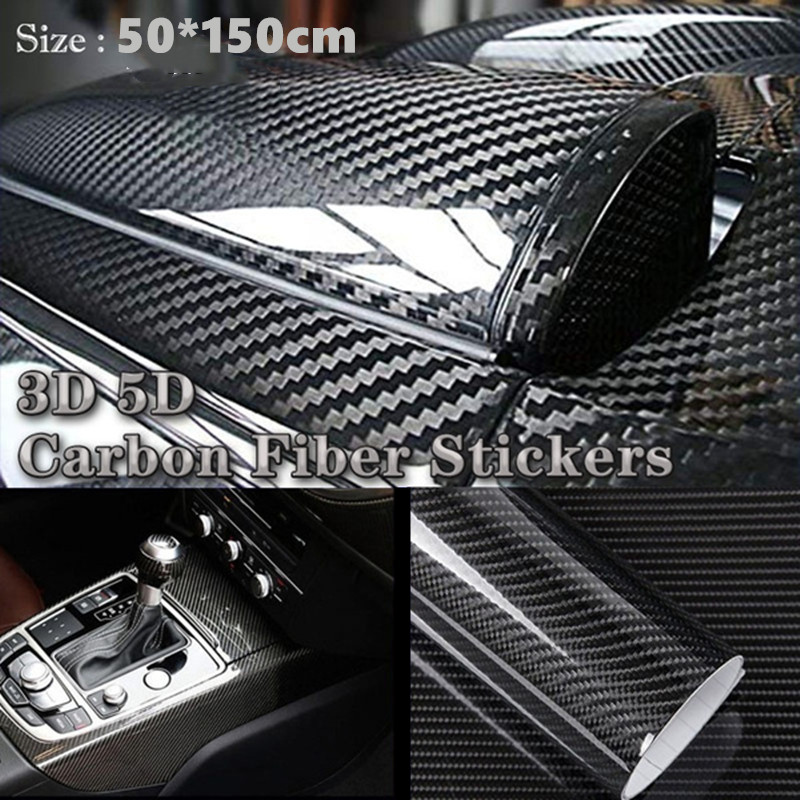 50*150CM 3D/5D Automobile Carbon Fibre Vinyl Wrap Car Body Color Changing Film High Brightness Stereo Motorcycle Refitting Film