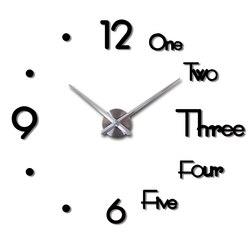 2019 nuevo reloj de pared grande 3D DIY diseño moderno Adhesivo de pared reloj silencioso decoración del hogar sala de estar espejo acrílico Reloj de pared Nórdico