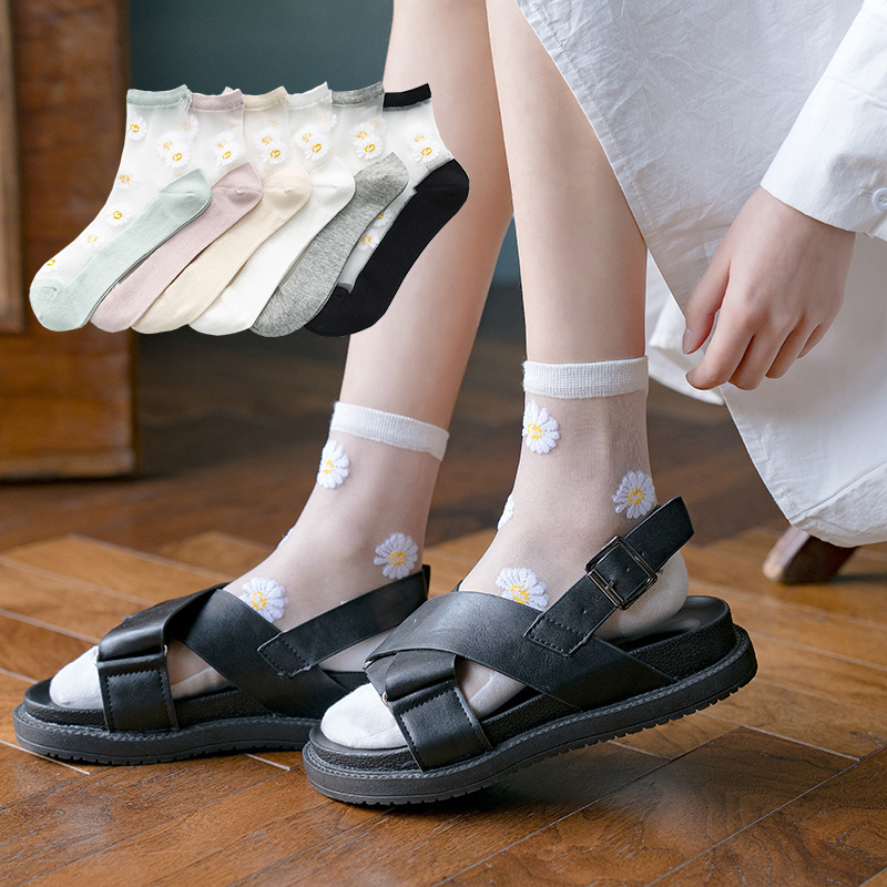 Small Daisy Sheer Tulle Floral Ankle Socks Women Best Mesh Transparent Girls Cute Black White Sheer Lace Nylon Socks Target Pop