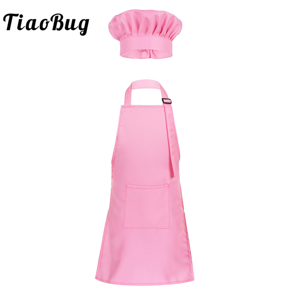 TiaoBug Unisex Kids Adjustable Apron And Chef Hat Set Boys Girls Kitchen Cook Uniform Baking Painting Training Halloween Costume