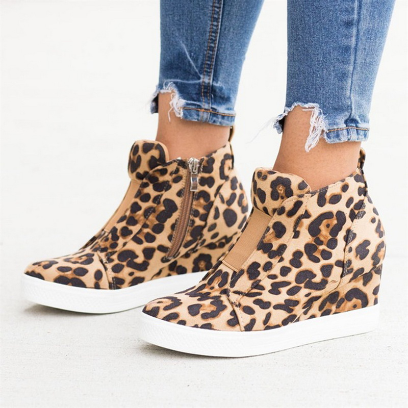 Women Vulcanized Shoes 2020 Autunm Mesh Solid Women Shoes Fashion Casual Plus Size Ankle Boots Increasing Mid Heel Wedges Shoes