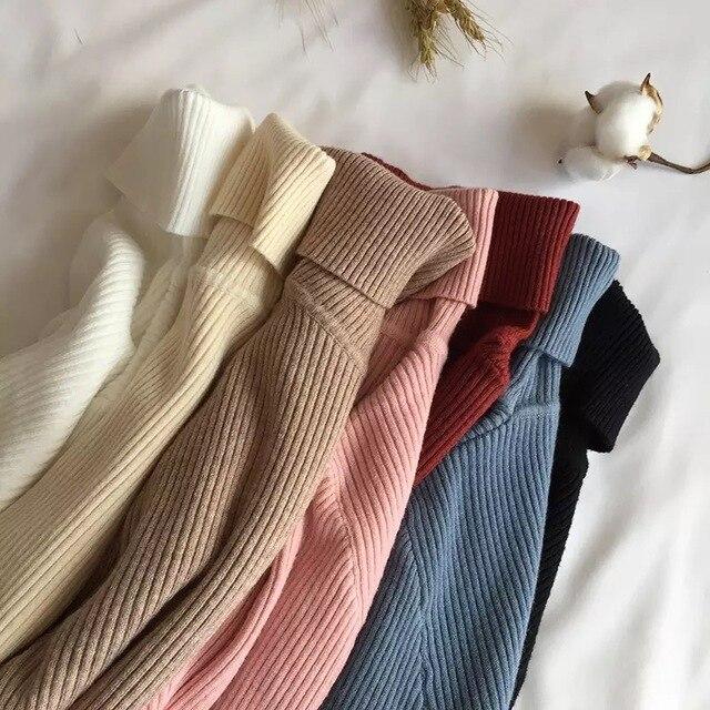Lucyever Turtleneck Women Knitted Pullovers Sweater Fashion Autumn Winter Soft Jumper Korean Slim Long Sleeve Girls Basic Tops 2