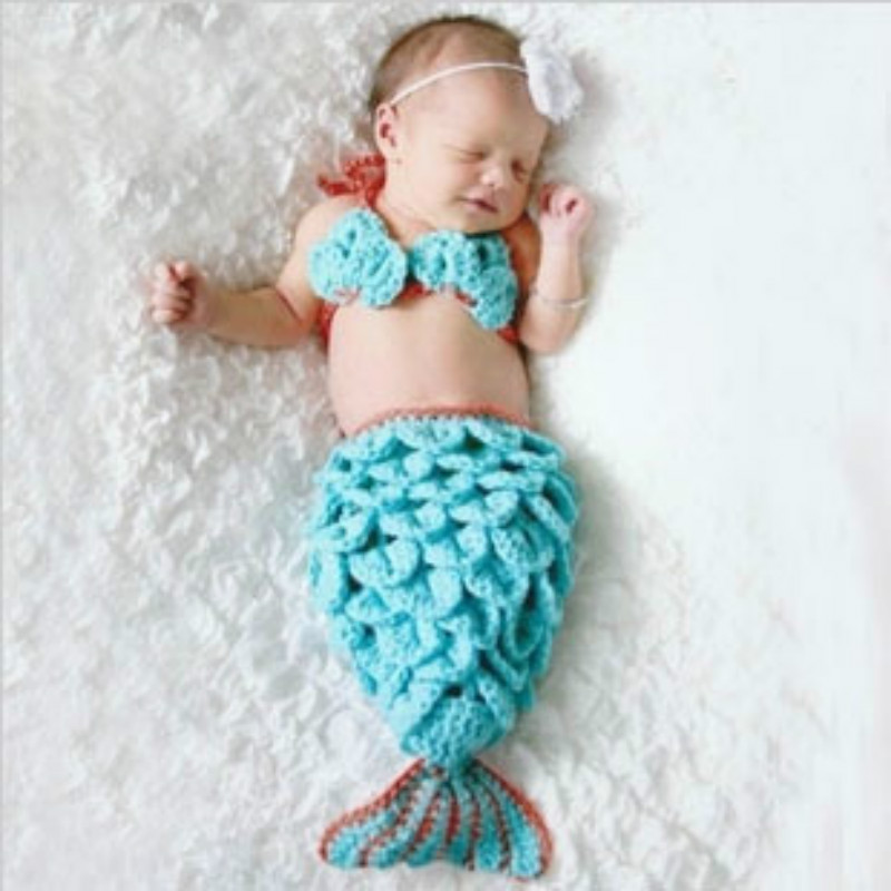 Baptism Baby Handmade Photography Clothing Baby Clothes Sky Blue Mermaid Set Cartoon M4