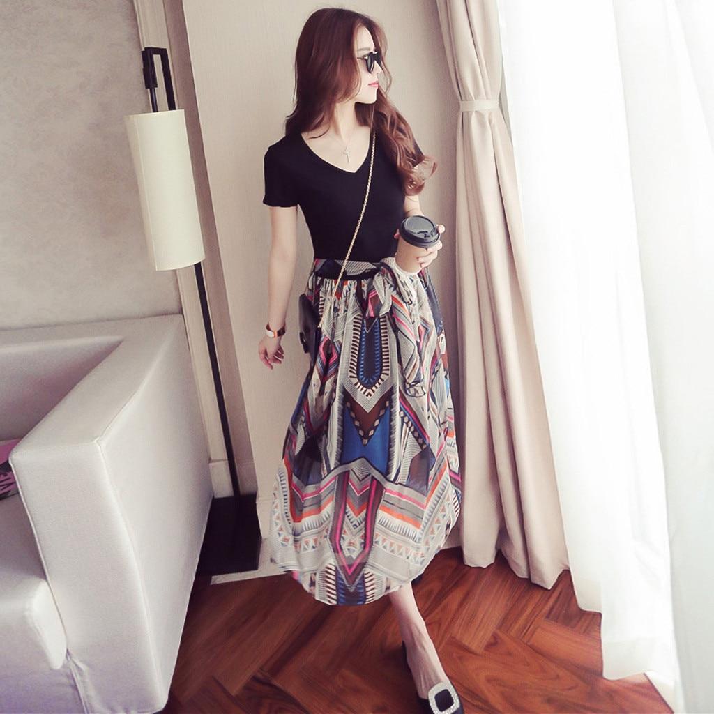Женское платье с v-образным вырезом, повседневное Свободное платье в Корейском стиле с принтом и бантом на талии, 40 *