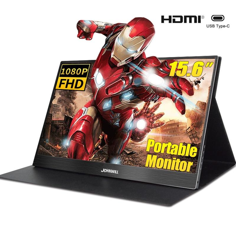 Moniteur Portable 15.6 ''lcd hd HDMI USB type C affichage pour PC ordinateur Portable téléphone PS4-switch-XBOX 1080P mince moniteur de jeu écran ips