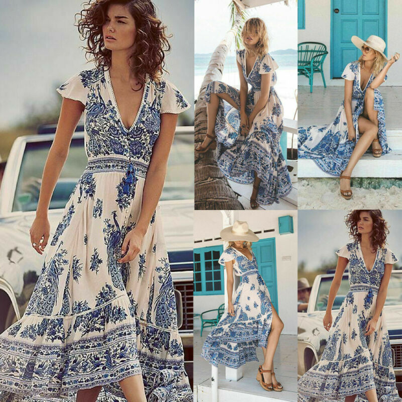 Frauen Tiefe V Neck Boho Floral Bedruckte Sommer Lange Maxi Kleid Party Abend Sommer Strand Split Sommerkleid