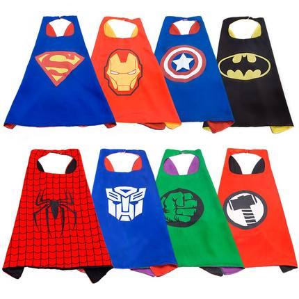 Marvel Avengers Figure Super Heros Cosplay Cloak Cape Shawl Captain America Spider Man Thor Hulk Halloween Cosplay Toy Eye Mask