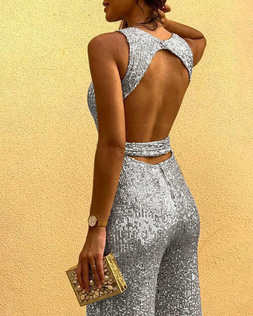 Glitter Round Neck Sleeveless Backless Sequins Jumpsuit