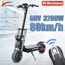 Potężny skuter elektryczny 60V3200W 11 cal Off Road Fat tire podwójny silnik koła e skuter składany dorosłych skutery długi Hoverboard