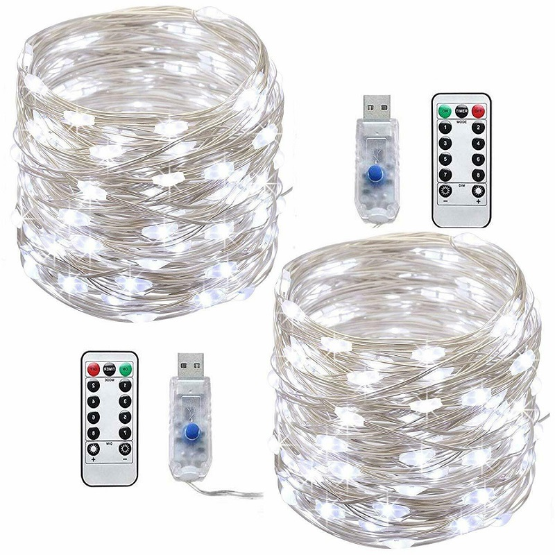 1/2PCS LED String Lights 33ft 100 LED USB Plug In Fairy String Lights 8 Modes Copper Wire Lights Waterproof Remote Control Lamps