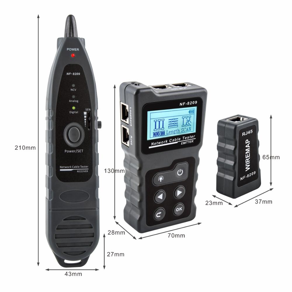 NOYAFA NF-8209 LCD Display Measure Length Lan Cable POE Wire Checker Cat5 Cat6 Test Network Tool Scan Cable Wiremap Tester 2